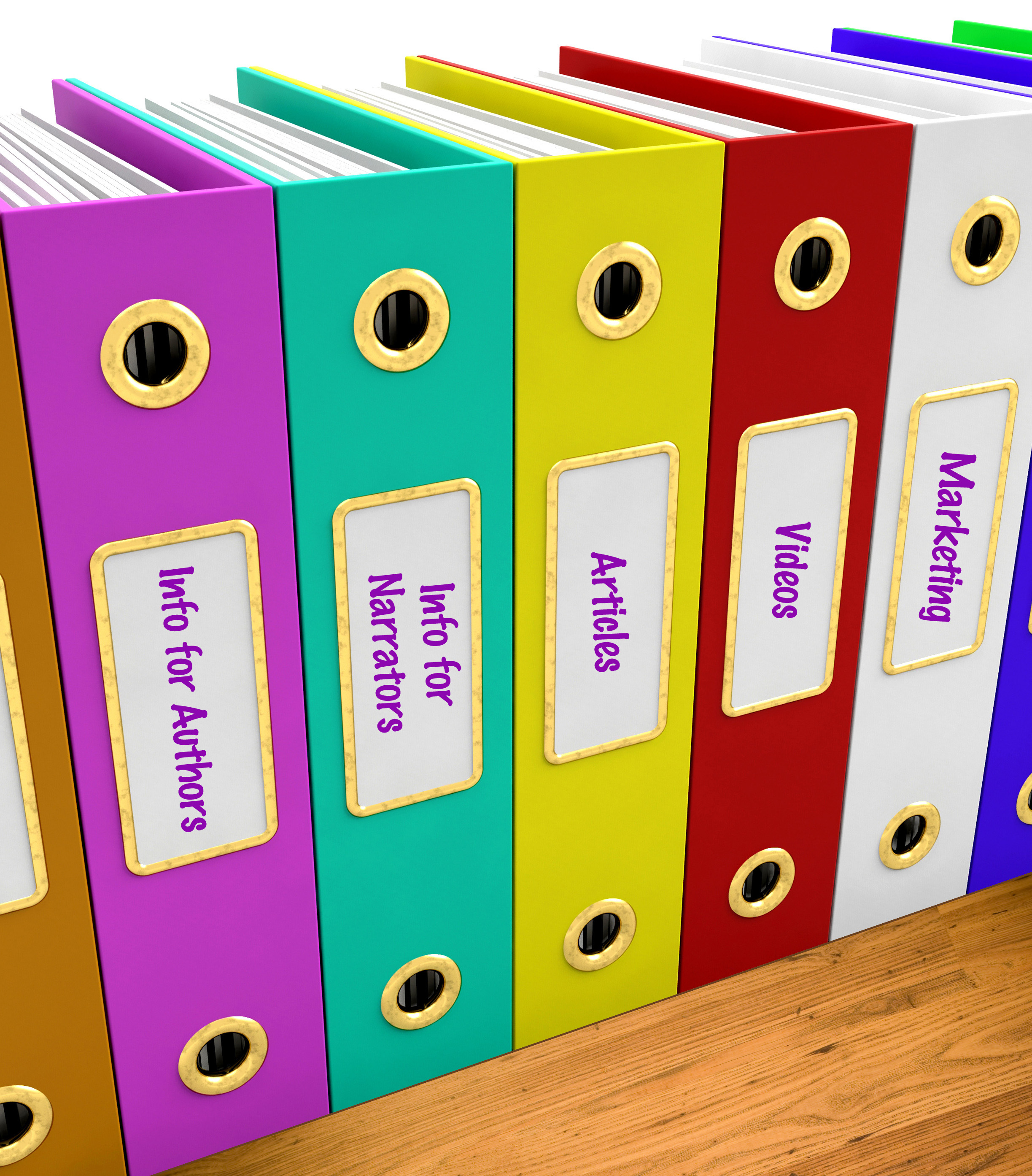 Row of colorful binders labeled with audiobook topics