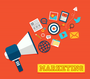 megaphone with icons for marketing channels