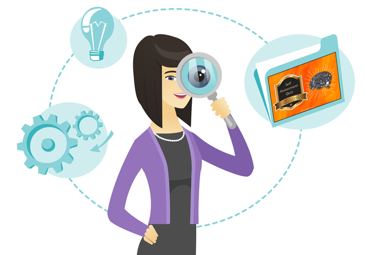 woman with magnifier, quiz folder, gear, and lightbulb icons