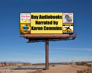 4 audiobook covers on a billboard