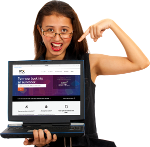Girl holding laptop with ACX on the screen