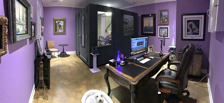 Karen inside her WhisperRoom in her studio