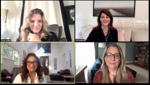 Zoom window of panelists Krista Vernoff, Debbie Allen, Cheryl Strayed, Nia Vardalos