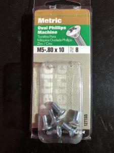 package of 8 M5-.80 x 10 phillips screws